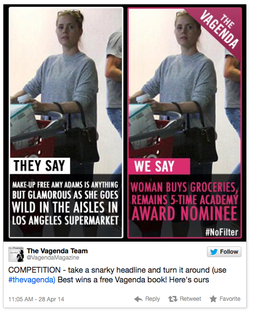 Vagenda magazine's reworded version of a paparazzi headline